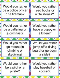 Would you rather questions for kids are a great way to make dinner time more fun. These free printable would you rather questions will engage your kids too. Funny Would You Rather, Would You Rather Questions, Get To Know You Activities, Activities For Kids, Writing Games For Kids, Primary Activities, Speech Activities, Party Activities, Writing Activities