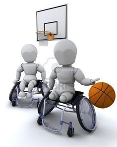 3D render of men in wheelchairs playing basket ball Stock Photo