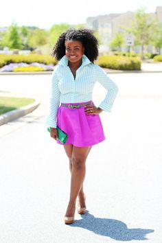 "White Blouse, Fuchsia Hot Pink Full Skirt #curvy #thick  ""if you follow my Curvy Girl's Spring/Summer Closet, make sure to follow my Curvy Girl's Fall/Winter Closet.""   http://pinterest.com/blessedmommyd/curvy-girls-fallwinter-closet/"