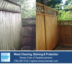 http://topeka.renewcrewclean.com/deck-cleaning – This wooden fence was weathered from the elements and needed a good cleaning by Renew Crew of Topeka/Lawrence to remove mildew and sealing to protect it. We serve Topeka plus Lawrence KS. Free estimates.