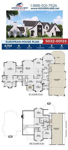 Build unique with this European design! Plan 5032-00133 is highlighted by 4,754 sq. ft., 4 bedrooms, 3.5 bathrooms, a mud room, a theater room, a bonus rom and a sunroom. Find more information about this plan on our website. #europeanhomes #floorplans #europeandesign European Plan, European House Plans, Best House Plans, Floor Plan Drawing, Cost To Build, Build Your Dream Home, Old World Charm, Sunroom, Square Feet