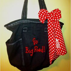 Black Retro Metro Bag with red lettering (Style and red polka dot bow. Perfect for Disney fans. or Mouse Bound. Thirty One Catalog, Thirty One Bags, Thirty One Gifts, Retro Metro Bag, Thirty One Consultant, Independent Consultant, 31 Gifts, 31 Bags, One Life