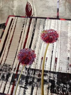 I love the effect she gets here by starting with a gradient of fabrics and then using embroidery stitches over the top to make the flower heads. Stunning! It encourages me to think about my base fabric(s) while embroidering. Linda Kemshall: Painting, plants and embroideries