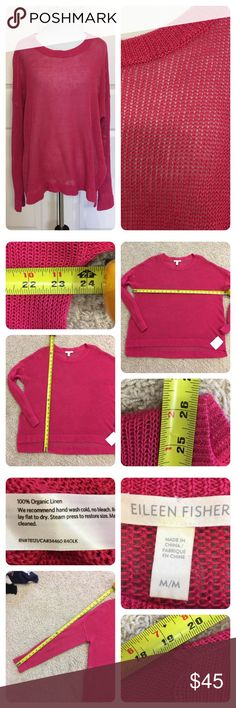"NWT!  Eileen Fisher 100% linen sweater New with tags from a secondary store.  Pretty pink open weave 100% linen sweater.  Side slits and slight high low about 2"". No flaws noted. Eileen Fisher Sweaters"