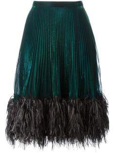 Marco De Vincenzo feather trim pleated skirt