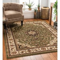 Astoria Grand Belliere Green/Beige Area Rug Rug Size: Rectangle x Slipper Chairs, 8x10 Area Rugs, Long Rug, Polypropylene Rugs, Traditional Area Rugs, Brown Rug, Area Rug Sizes, Room Rugs, Living Room Area Rugs