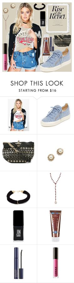 """Rise of the Rebel"" by camry-brynn ❤ liked on Polyvore featuring Boohoo, Giuseppe Zanotti, Sonia Rykiel, Marc Jacobs, Elizabeth and James, Ela Rae, JINsoon, Xen-Tan, Estée Lauder and LORAC"