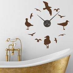 Style and Apply Gulls Wall Clock Wall Decal Color: Royal Blue