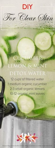 Cucumber Lemon and Mint Detox Water for Glowing Skin - 12 Clear Skin Water and Smoothie Recipes for Best Possible Results Ever Smoothie Detox, Juice Smoothie, Fruit Juice, Infused Water Recipes, Fruit Infused Water, Detox Recipes, Smoothie Recipes, Healthy Recipes, Juice Recipes