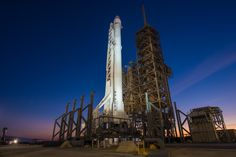 Falcon 9 Rocket With Dragon Spacecraft Vertical at Launch Complex 39A