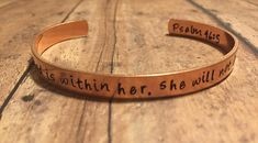God Is Within Her/Personalized Gift/Bible Verse Bracelet/Copper Bracelet/Brass Bracelet/For Her/Anniversary Gift/Gift for Mom/Psalm 46:5