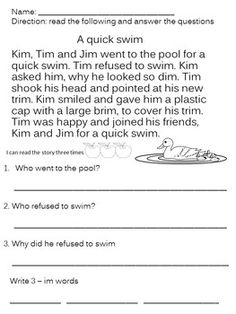 Reading Comprehension Passages and Question, Sight Words, Word Family Short I Words, E Words, Sight Words, Reading Comprehension Worksheets, Reading Fluency, Reading Skills, First Grade Reading, Student Reading, Cvc Word Families