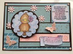 Geburtstagskarte mit Lelo-Vögelchen nach Sketch beim Blitzstempeln (90 Minuten) bei den Stempelhühnern