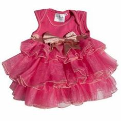 Candy Pink & Blush Infant 3 Tier Onesie Dress, Bow detailing accent, Custom made to order