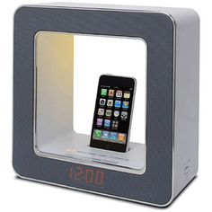 Table Lamp with Built-in FM Clock Radio and iPod/iPhone Dock, White