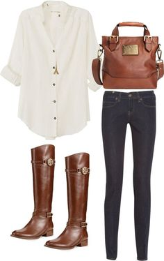 Casual Fall outfit - love the brown riding boots with a simple, classic white button up.