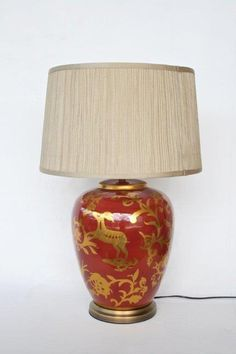 Red Gold Lamp and shade – Unique Wood