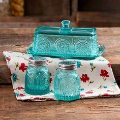 Butter Dish Set Salt Pepper Pioneer Woman Turquoise Glass Adeline 3 PC New Serve #PioneerWoman