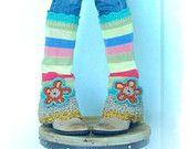STRIPED leg warmers colorful Hippie flared sweater leg warmers FLOWER GIRL scalloped crochet womens Fashion eco friendly Flower child GPyoga