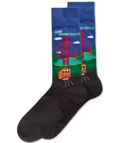 Hot Sox Men's Golden Gate Bridge Slacks Socks - Blue 10-13
