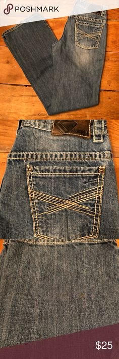 Boys Rock & Roll Denim jeans size 18R Boys Rock & Roll Denim jeans in almost perfect shape worn very little size 18R. Very nice jeans. Bought less than a year ago. One small spot (I took a close pic of it) possibly could be removed. Rock & Roll Denim Bottoms Jeans