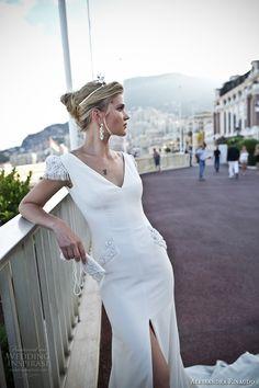 alessandra rinaudo 2017 bridal cap sleeves v neck simple clean elegant sheath wedding dress open low v back chapel train (11) zv