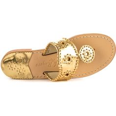 Jack Rogers Women's Hamptons Flat  - Gold (€93) ❤ liked on Polyvore featuring shoes, flats, sandals, jack rogers flats, gold shoes, low shoes, yellow gold shoes and slip-on shoes