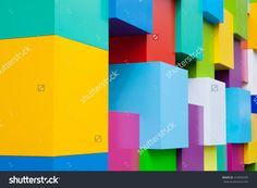 Abstract Colorful Architectural Objects. Yellow, Red, Green, Blue, Pink, White Colored Blocks. Pantone Colors Concept Стоковые фотографии 416859295 : Shutterstock