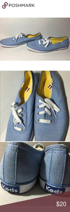 Keds chambray champion blue sneaker flats size 11 New never worn, super cute Keds. Great for everyday anywhere wear.  Color: blue Size: 11 Condition: new, never worn Fabric: Fabric Designer: Keds Keds Shoes Sneakers