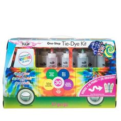 Find the Tulip® One Step Tie Dye Kit® Road Trip at Michaels. Featuring a fun trailer design with a handle to just grab & go, the kit is ready to take your creativity on an awesome adventure. Tulip Colors, Rainbow Colors, Colours, How To Tie Dye, How To Dye Fabric, Tie Dye Supplies, Tulip Tie Dye, Diy Tie Dye Shirts, Tie Dye Party