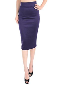 LeggingsQueen High Waist Stretch Basic Pencil Skirt -- Visit the image link more details.