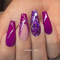 REPOST - -  - - Dark Fuchsia Pink and Glitter on long Coffin Nails  - -  - -  Picture and Nail Design by @amelas_nailz  Follow her for more gorgeous nail art designs!  @amelas_nailz @amelas_nailz - -  - -