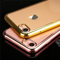 Ultra thin Transparent back cover Electroplating Soft TPU Cover Phone Cases For iPhone 6 6S 6Plus 5 5S SE 7 Plus case coque