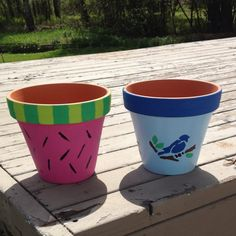 Painted clay pots I made for my mom and sister.