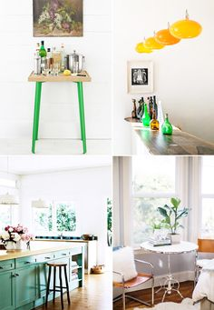 Green kitchen accents, especially that fantastic green kitchen island! {various credits, via sfgirlbybay}