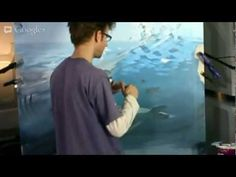 ▶ Mural Joe Live - YouTube. How to paint the sky reflection on water. myb