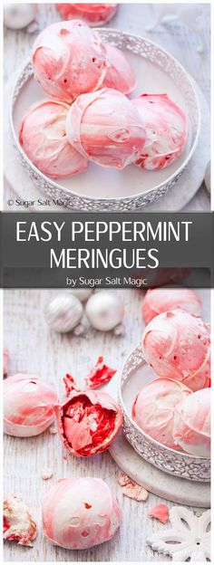 These super easy Peppermint Meringues are light, melt in your mouth and are bursting with peppermint flavour. #meringuecookies #meringues #candycane via @sugarsaltmagic