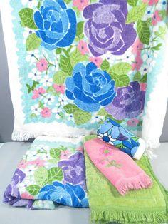 Vintage Bath Towel Set Turquoise Blue And Green Floral