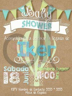 Invitacion Baby Shower Globo Niño