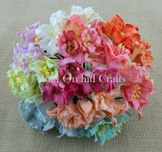 50 MIXED COLOUR MULBERRY PAPER LILY FLOWERS MKX-197