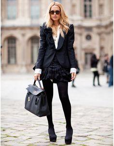 Street Style Paris Fashion Week 1012: Stylist Rachel Zoe's ruffled jacket and stiff pleated skirt are a new way of power dressing.
