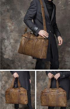 Handmade Vintage Leather Briefcase Laptop Bag Messenger Bag