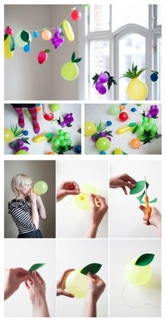 .:* L - This is the most adorable idea ever! make a fruit garland out of mini balloons! String them into a fruity garland. | 32 Unexpected Things To Do With Balloons