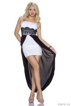 €49,95 witte highlow jurk met zwarte chiffon  www.Dasonia.com Bestel voor 17:30 en ontvang morgen! Of bezoek onze showroom te Capelle aan den IJssel - Rotterdam