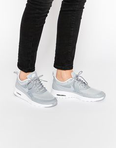 Image 1 of Nike Platinum Grey Print Air Max Thea Trainers