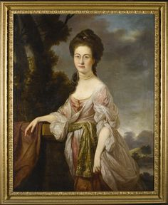 David Martin  ANSTRUTHER, FIFE 1737 - 1798 EDINBURGH  PORTRAIT OF A LADY, THREE-QUARTER-LENGTH, STANDING IN A LANDSCAPE, WEARING A PINK DRESS WITH WHITE LACE SLEEVES AND AN EMBROIDERED WAISTBAND