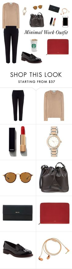 """Minimal Work Outfit"" by pemia on Polyvore featuring Chloé, Prada, Chanel, DKNY, Ray-Ban, Longchamp, Smythson, Tod's, Happy Plugs and Dolce&Gabbana"