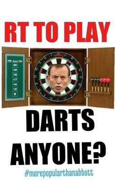 DARTS OR VOODOO?  DECISIONS,  DECISIONS! #auspol #bustthebudget #SCABBOTT #tonyabbott #SLOPPYJOE #joho pic.twitter.com/jVTM6VFcrU