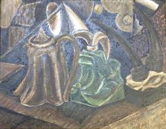 Still Life with Goat Horns and Teapot - Oil and sand on canvas