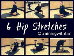 6 Hip Stretches:: these are really nice! stretching tips, flexibility